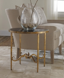 Wrought and Gilded Round End Table with Black Glass
