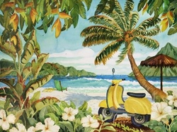 Yellow Scooter in Paradise Beach Print