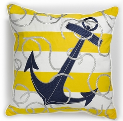 Yellow Stripe Anchor with Rope Sunbrella Pillow <font color=a8bb35> Discontinued</font>