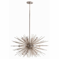 Zanadoo Small 12-Light Polished Nickel Chandelier