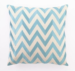 Zig Zag Linen Embroidered Pillow - Turquoise