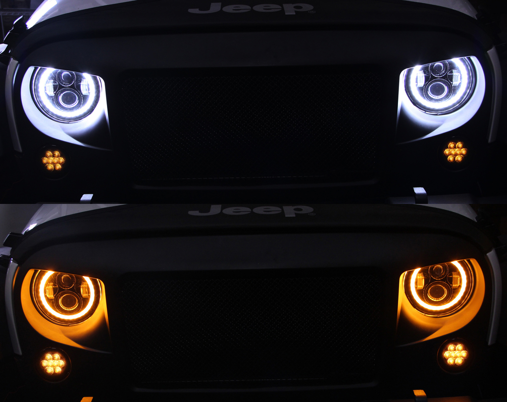 Xprite 7 Quot 80w Cree Led Headlights With Halo Hl Jeep R7in