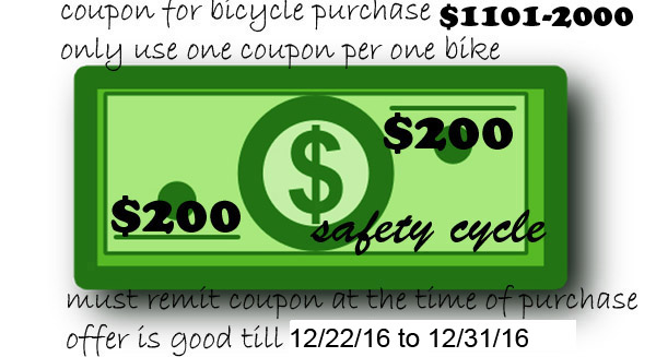 Bicycle Coupon between $1101-$2000 Save 200.00