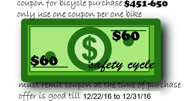 Bicycle Coupon between $451-$650 Save $60.00