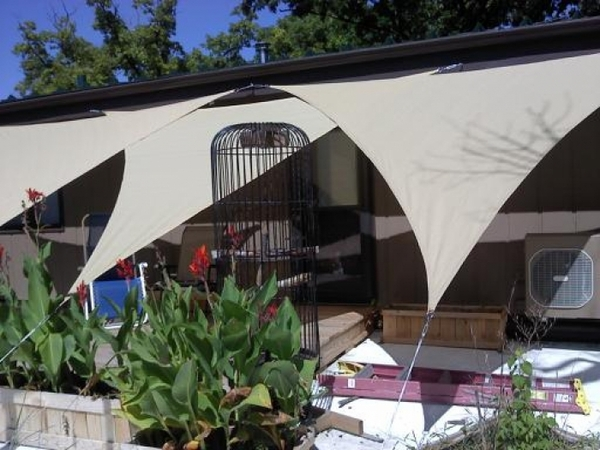 12 Foot Shelterlogic Triangular Shade Sail Sand 160 Gsm