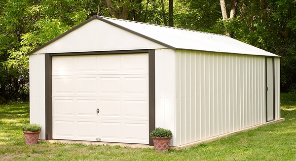 Arrow murrayhill 12 x 24 storage shed with roll up garage door for Storage shed overhead door