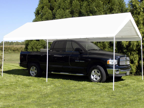 King Canopy 10 Foot x 20 Foot Compact Universal Canopy with White Cover and Drawstrings & Canopy 10 Foot x 20 Foot Compact Universal Canopy with White Cover ...