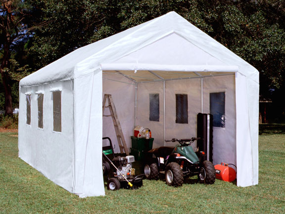 king canopy 10 foot x 20 foot hercules enclosed canopy shelter with windows and snow load kit