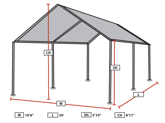 King Canopy - 6-Leg - 10 x 20 Portable Garage withSilver Cover  sc 1 st  eCanopy.com & Canopy - 6-Leg - 10 x 20 Portable Garage withSilver Cover