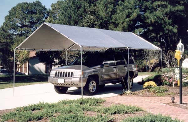 Portable Canvas Carport Kits : King canopy leg portable garage withsilver cover