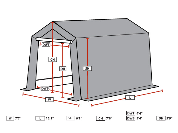 King Canopy Enclosed 7 Foot x 12 Foot A-Frame Garage Canopy  sc 1 st  eCanopy.com & Canopy Enclosed 7 Foot x 12 Foot A-Frame Garage Canopy