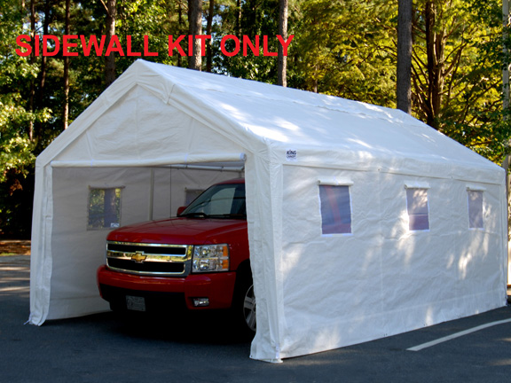 King Canopy White Sidewall Kit With Flaps And Screen Windows