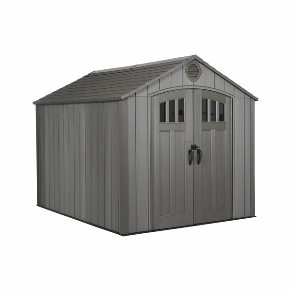 Lifetime 8 Foot X 10 Foot Polyethylene Outdoor Storage Shed   Rough Cut  Brown