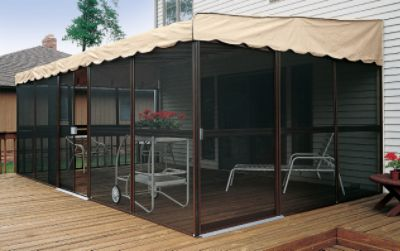 Patio-Mate Screened Enclosure - Chestnut / Almond Color & Mate Screened Enclosure - Chestnut / Almond Color