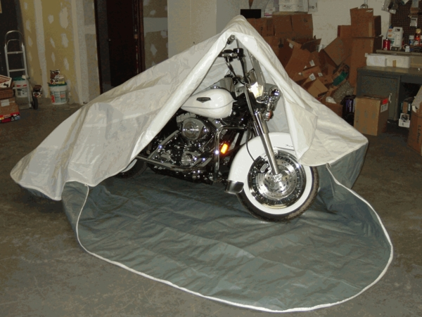 Portable Motorcycle Covers : Rhino shelter motorcycle storage pocket