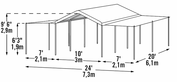 Shelterlogic 10 X 20 Max Ap 8 Leg Canopy Shelter With Enclosure