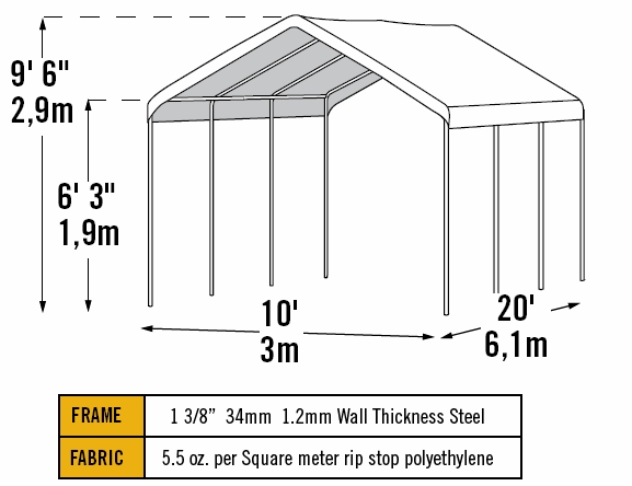 ShelterLogic 10 x 20 Max AP 8 Leg Canopy with Enclosure Kit - 23529