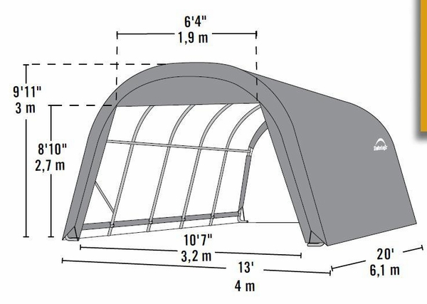 ShelterLogic 12 x 20 x 10 Round Portable Garage Canopy - Green - 73342  sc 1 st  eCanopy.com : shelterlogic replacement canopy - memphite.com
