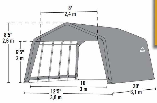 Shelterlogic 12 X 20 X 8 Peak Style Portable Garage Canopy 71434