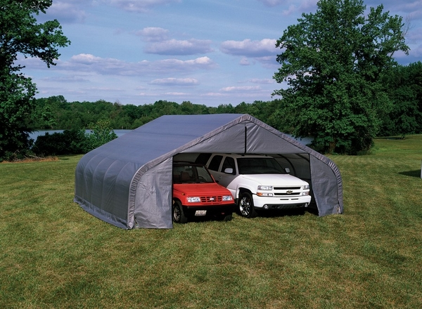 Tarp Shelter Garage : Shelterlogic peak style portable carports and shelters