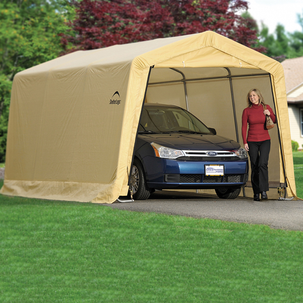 ShelterLogic AutoShelter 1015 Portable Garage with Tan Cover - 10 Foot x 15 Foot x 8 Foot & AutoShelter 1015 Portable Garage with Tan Cover - 10 Foot x 15 ...