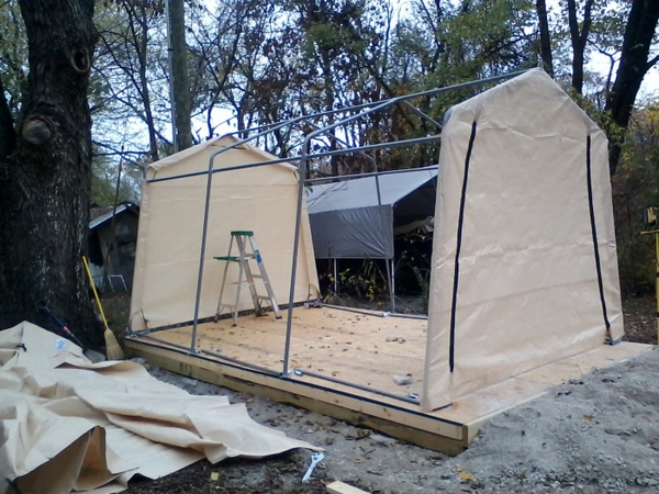 Shelterlogic Autoshelter 1015 Portable Garage With Tan Cover 10 Foot X 15 8