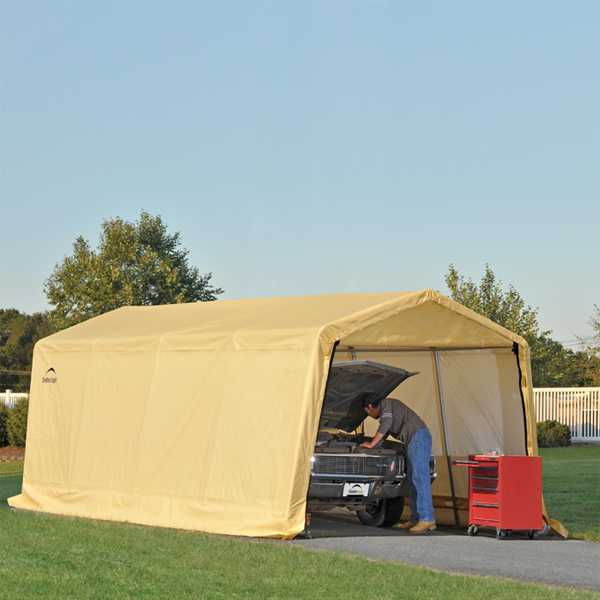 Portable Garage Replacement Covers : Shelterlogic autoshelter portable garage with tan