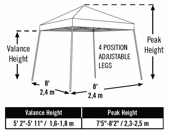 ShelterLogic Sports Series Slant-Leg Pop Up Canopy Tent - 8 Foot x 8 Foot  sc 1 st  eCanopy.com : 8 foot canopy - memphite.com