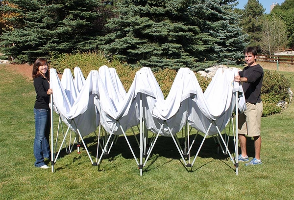 undercover 10 x 20 hybrid popup shade canopy package with white top