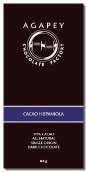 Agapey Cacao Hispaniola 70% Cacao 100g (Pack of 6)