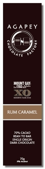 Agapey Rum Caramel 70% Cacao 5% Alcohol 70g (Pack of 6)