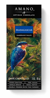 "Amano Madagascar ""Sambirano Valley"" 70% Cocoa, Dark Chocolate Bar, 3oz/85g, (Pack of 6)"