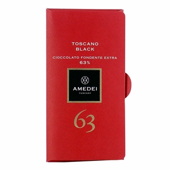 Amedei Toscano Black 63% Extra Dark Chocolate Bar, 50g/1.75oz 6 Pack)