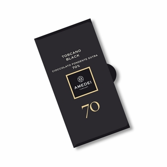Amedei Toscano Black 70% Extra Dark Chocolate Bar, 50g/1.75oz (6 Pack)