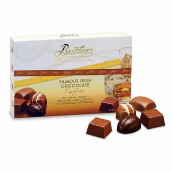Butlers Famous Irish Chocolate Truffles, Irish Cream Liqueur, Irish Whiskey, Irish Coffee & Potcheen Chocolate Truffles 125g/ 4.41oz (Single)