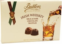 Butlers Irish Whiskey Milk & Dark Chocolate Truffles 125g /4.41 oz (6 Pack)