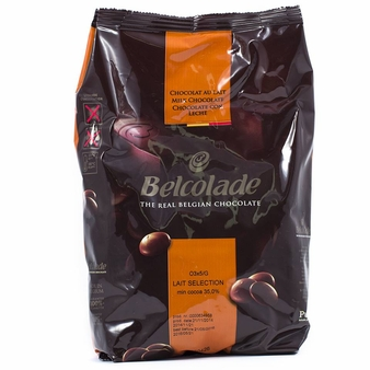 "Belcolade Belgian Chocolate - Milk Chocolate Discs, ""Lait Selection"", 33.5% Cocoa, (11 Lb./5kg. Bag)"