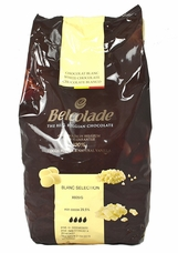 "Belcolade Belgian Chocolate - White Chocolate Discs, ""Blanc Selection"", 28.0% Cocoa, (11 Lb./5kg. Bag)"