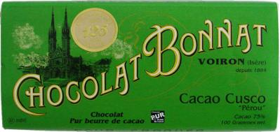 "Bonnat ""Cacao Cusco"" Peru - 75% Cocoa Dark Chocolate, French Chocolate, 100g/3.5oz. (5 Pack)"