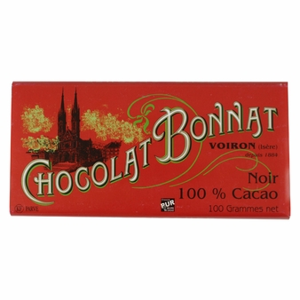 Bonnat French Chocolate - 100% Pure Cocoa Dark Chocolate, 100g/3.5oz. (5 Pack)