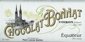 """Bonnat French Chocolate - """"Equateur"""" 75% Cocoa Dark Chocolate, 100g/3.5oz.(5 Pack)"""