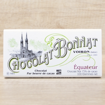 "Bonnat French Chocolate - ""Équateur"" 75% Cocoa Dark Chocolate, 100g/3.5oz. (Pack of 5)"