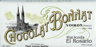 "Bonnat French Chocolate - Hacienda ""El Rosario"" 75% Cocoa Dark Chocolate, 100g/3.5oz. (5 Pack)"
