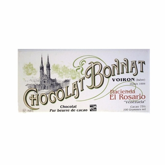 "Bonnat French Chocolate - ""Hacienda El Rosario"" 75% Cocoa Dark Chocolate, 100g/3.5oz. (5 Pack)"