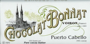"Bonnat French Chocolate - ""Puerto Cabello"" 75% Cocoa Dark Chocolate, 100g/3.5oz (Single)."