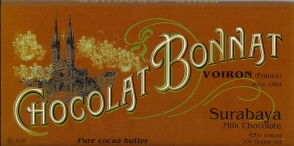 "Bonnat French Chocolate - ""Surabaya"" 65% Cocoa Milk Chocolate, 100g/3.5oz(5 Pack)."