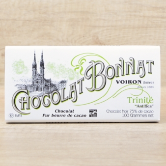 "Bonnat French Chocolate - ""Trinité"" 75% Cocoa Dark Chocolate, 100g/3.5oz. (Pack of 5)"