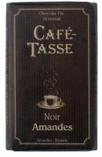 Caf� - Tasse Belgian Chocolate - 54% Dark Chocolate Bar with Almonds, 85g/3oz. (12 Pack)
