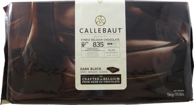 Callebaut 835 Belgian Chocolate, Dark Chocolate Semi - Sweet BLOCK, 54.6% Cocoa, natural vanilla, 5kg/11.0lbs.