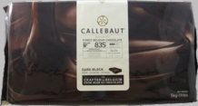 Callebaut 835 Belgian Chocolate, Dark Chocolate Semi - Sweet BLOCK, 54.6% Cocoa, natural vanilla, 5-Bar Case 25kg/55.0lbs.